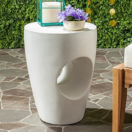 Safavieh Outdoor Collection Aishi Modern Concrete Ivory Round 17.7-inch Accent Table (Table Outdoor Concrete Side)