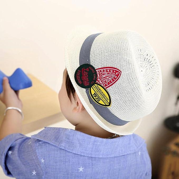 Covermason Enfant Garçon Fille Chapeau de Soleil Panama Classique Broderie  Snapback Hiphop (Blanc)  Amazon.fr  Vêtements et accessoires 94e6d8f7ca4