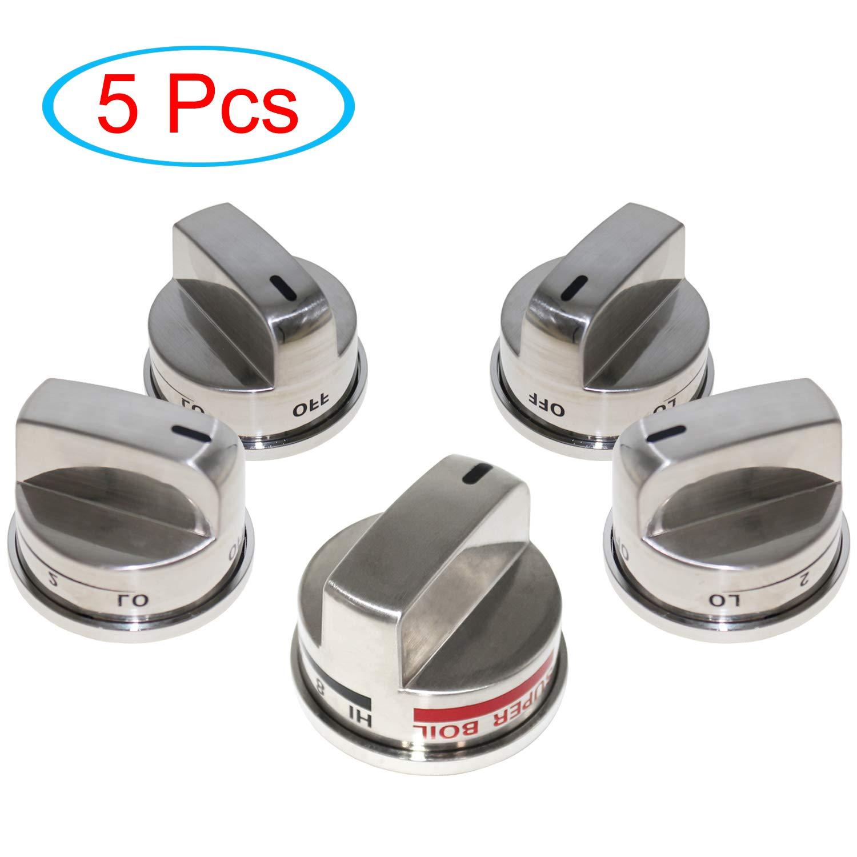 YEECHUN 4 Pack EBZ37189611 Knobs & 1 Pack EBZ37189609 Range Burner Super Boil Knob for LG Gas Stove/Oven, Replacement LRG30355ST LRG30357ST LRG30855ST
