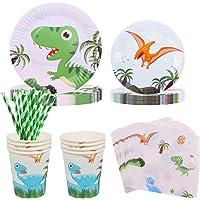 Amycute 60pcs Juego de Cubiertos Dinosaurio, Set de Vajillas para 10 Niños con Vaso, Plato, Servilleta Fiesta de…