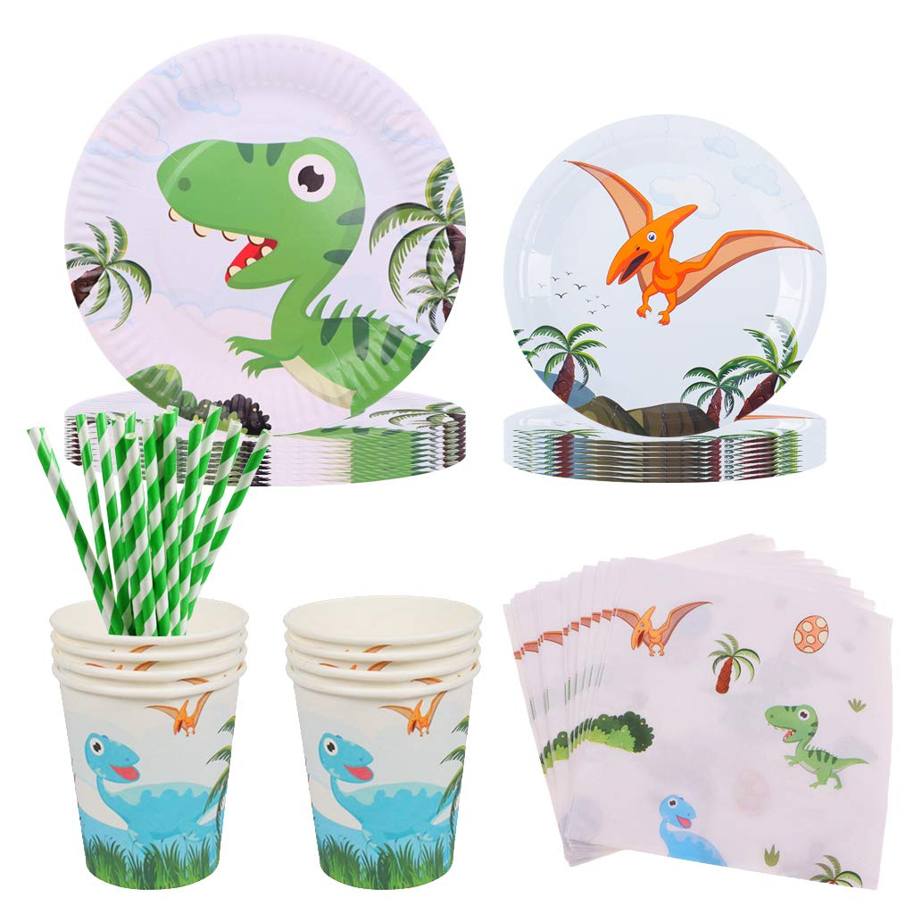 DreamJing Dinosaur Party Supplies 60 Pcs Party Tableware Set Includes Birthday Plates, Dinosaur Cups and Napkins, for Kids Boys Birthday Baby Shower Theme Party Decoration for 10 Guests
