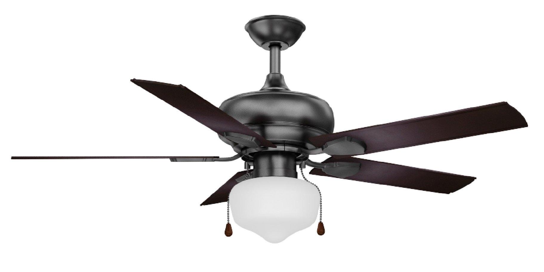 CANARM LTD. OUTLAND 52-Inch, 5 Blade Ceiling Fan, 1 Bulb Fan Light, Black, damp location rated
