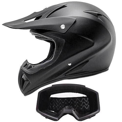 Adult Offroad Helmet & Goggles Gear Combo, Black w/Black (XL)