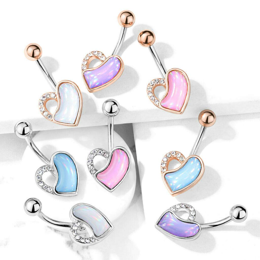 14GA Crystal Paved and Illuminating Stone Filled Heart 316L Surgical Steel Belly Button Navel Rings