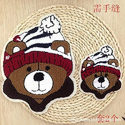 Embroidered Patch - Arrival 2pcs Embroidered Patches Little Bear Red Hat Sew  On Cartoon Towel Pacth 0cdc737c2