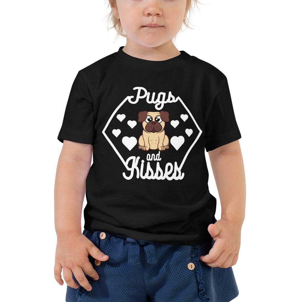Funny Birthday Gift for Kids Pugs and Kisses Toddler Tee Pug Shirt for Kids