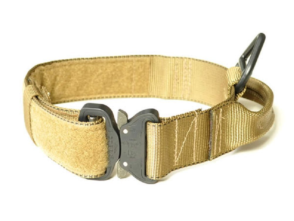 Redline K9 Maxtac 1.75'' Coyote Brown Service Dog Id Collar with Handle & Cobra Buckle Fits Neck Size 19'' - 25''