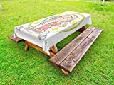 Ambesonne Zodiac Gemini Outdoor Tablecloth, Cartoon Style Little Girl with a Mirror and Reflection Twins Concept for Kids, Decorative Washable Picnic Table Cloth, 58 X 104 inches, Multicolor