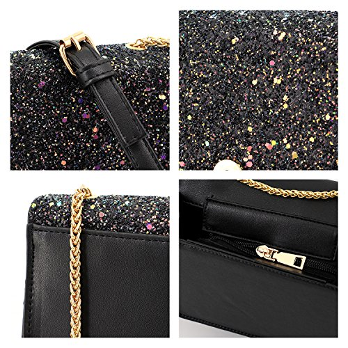 Fashionable Women Bag Purse Bag Crossbody Bag 00328 Black Evening Sequins Shiny Shoulder Handbag Candice qEdC6Cw