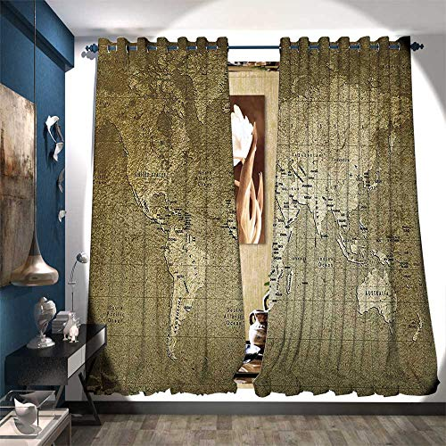 Swiss Army Atlas - BlountDecor Thermal Insulating Blackout Curtain Old World Map with Great Texture Nostalgic Ancient Plan Atlas Trace of Life World Drapes for Living Room W108 x L108 Army Green
