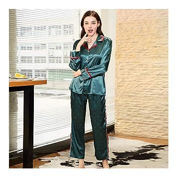 HAOLIEQUAN Pijamas De Otoño De Primavera Pijamas De Seda Señora Pijamas De Seda De Satén Full