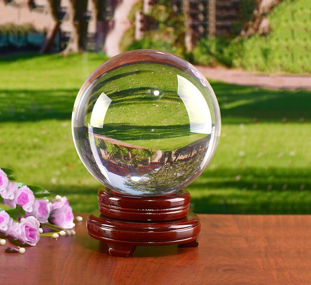 MerryNine Photograph Decoation Crystal Meditation Ball with A Redwood Resin Stand, K9 Crystal Suncatchers Ball, Home Decoation Ornaments, Photography Accessory(100mm/3.94'' Dia,Clear
