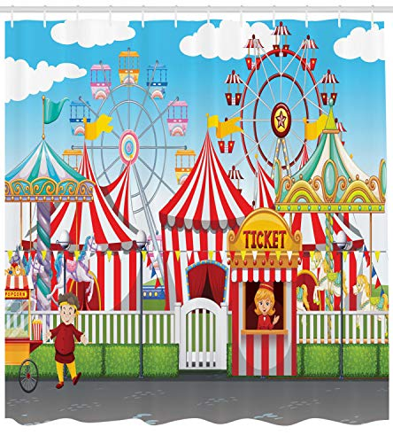Carnival Clothes Ideas (Ambesonne Circus Shower Curtain, Carnival with Many Rides and Shops Illustration Landscape and Cloudy Sky View Print, Cloth Fabric Bathroom Decor Set with Hooks, 70