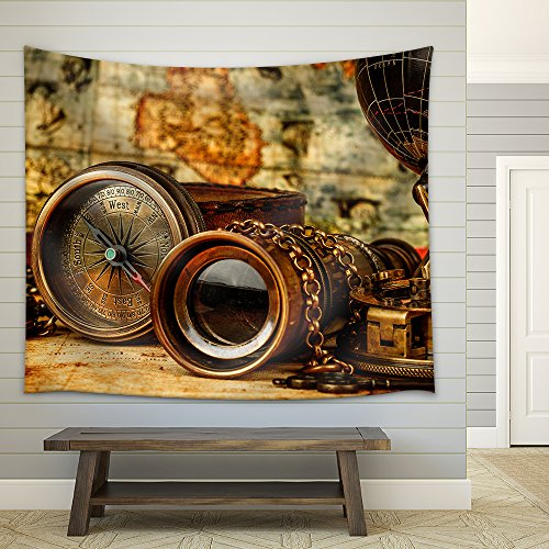 Vintage Grunge Still Life Vintage Items on Ancient Map Fabric Wall Tapestry