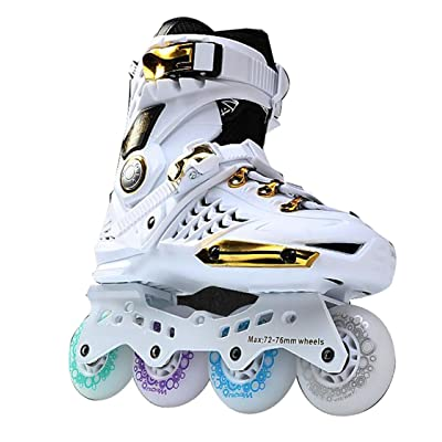 WY Men 's Women 's Adult Hard Shell Fancy Inline Roller Skates White Golden : Sports & Outdoors