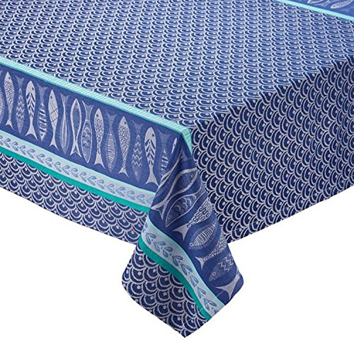 - Design Imports Blue Santorini Cotton Table Linens, Tablecloth 60-Inch by 84-Inch Oblong (Rectangle), Santorini Jacquard