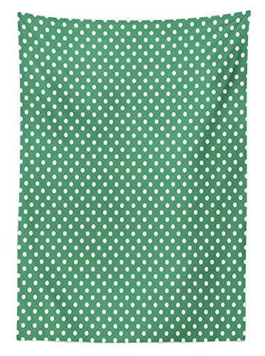 """Ambesonne Green Tablecloth, Old Fashioned Polka Dot Pattern on Green Background Classical Traditional, Rectangular Table Cover for Dining Room Kitchen Decor, 60"""" X 90"""", Forest Green"""