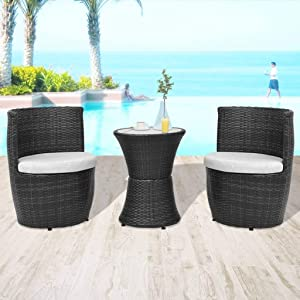 WWZH Patio Bistro Set 3-Piece Outdoor Wicker Furniture Sets, Modern Rattan Garden Conversation Chair with Cushion and Coffee Table Black