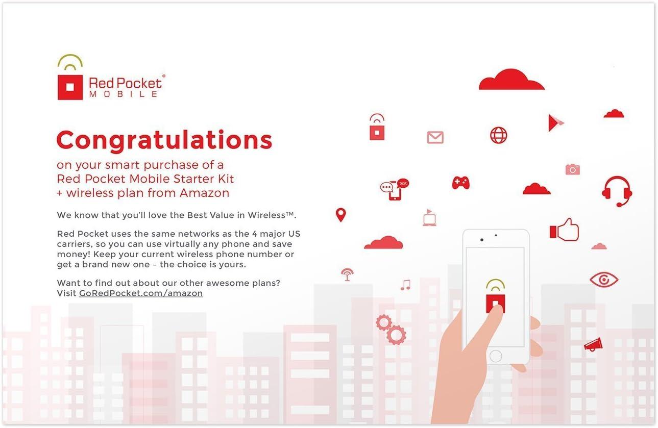 Red Pocket Mobile Prima de 30 días del Plan de teléfono de prepago sin Kit sim Libre Contrato de conversación Ilimitado de Texto ilimitados y 3 GB de Datos LTE: Amazon.es: Electrónica