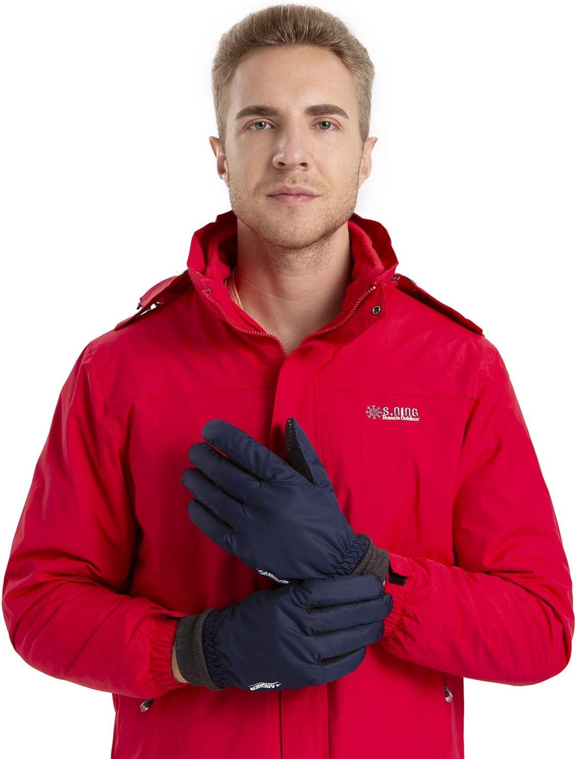 anqier Handschuhe Herren Damen Winddicht Fahrradhandschuhe Winter Sporthandschuhe Warm Winterhandschuhe zum Reiten Laufen Running Wandern Motorrad mit Fleecefutter
