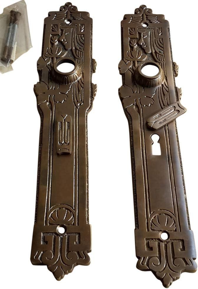 Jugendstil Tür Langschild 35cm mit Patina Türbeschlag antik 66 mm 82