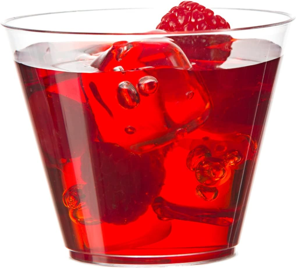 [80 Tumblers] Embellish Crystal Clear Disposable Heavy Duty Plastic 9 Oz Old Fashion Style, Fancy Cups, Great For Wine, Cocktail, Or Any Beverage, Wedding, Catering, Parties, Buffets, Events, 4 Packs