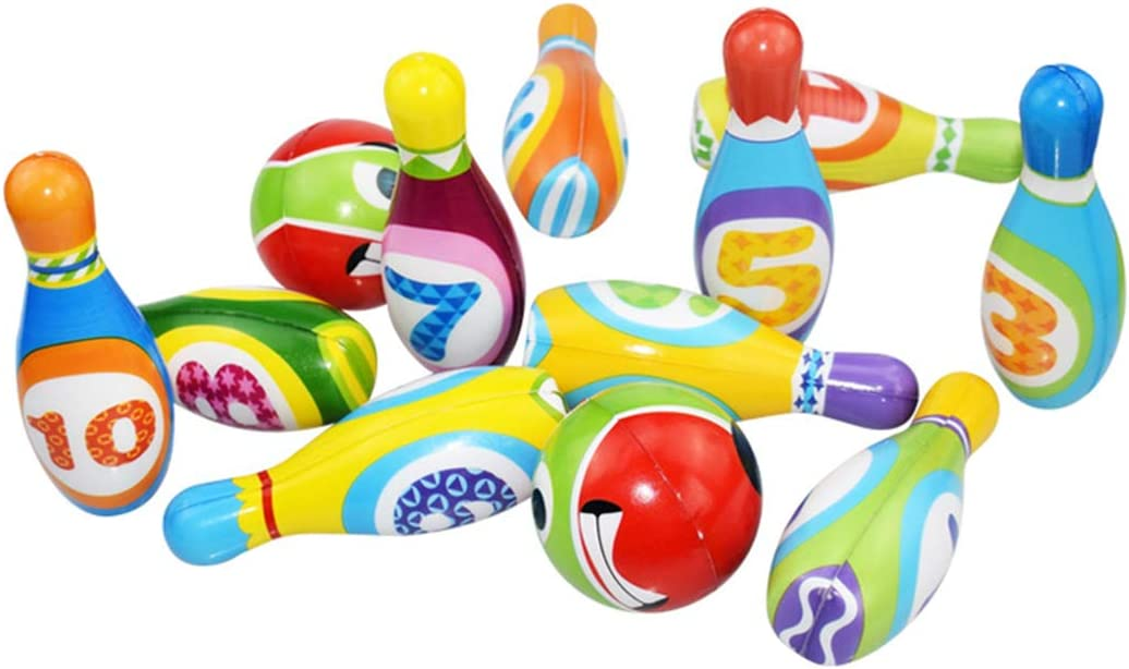 COOFIT 12PCS Kids Bowling Set Developmental Bowling Game Bowling Pin with Bowling Ball