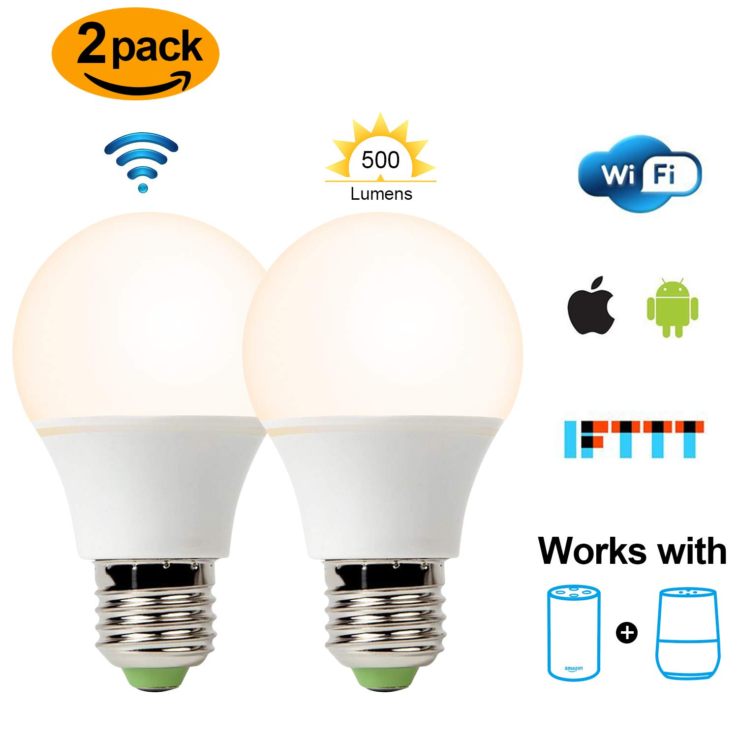 Smart Led Bulb, Warm White 65W Equivalent Dimmable Smart Led Light Bulb can Work with Alexa/Amazon Echo and Google Home.No Hub Required, CE/FCC/UL Listed (2-Pack-6.5W) …