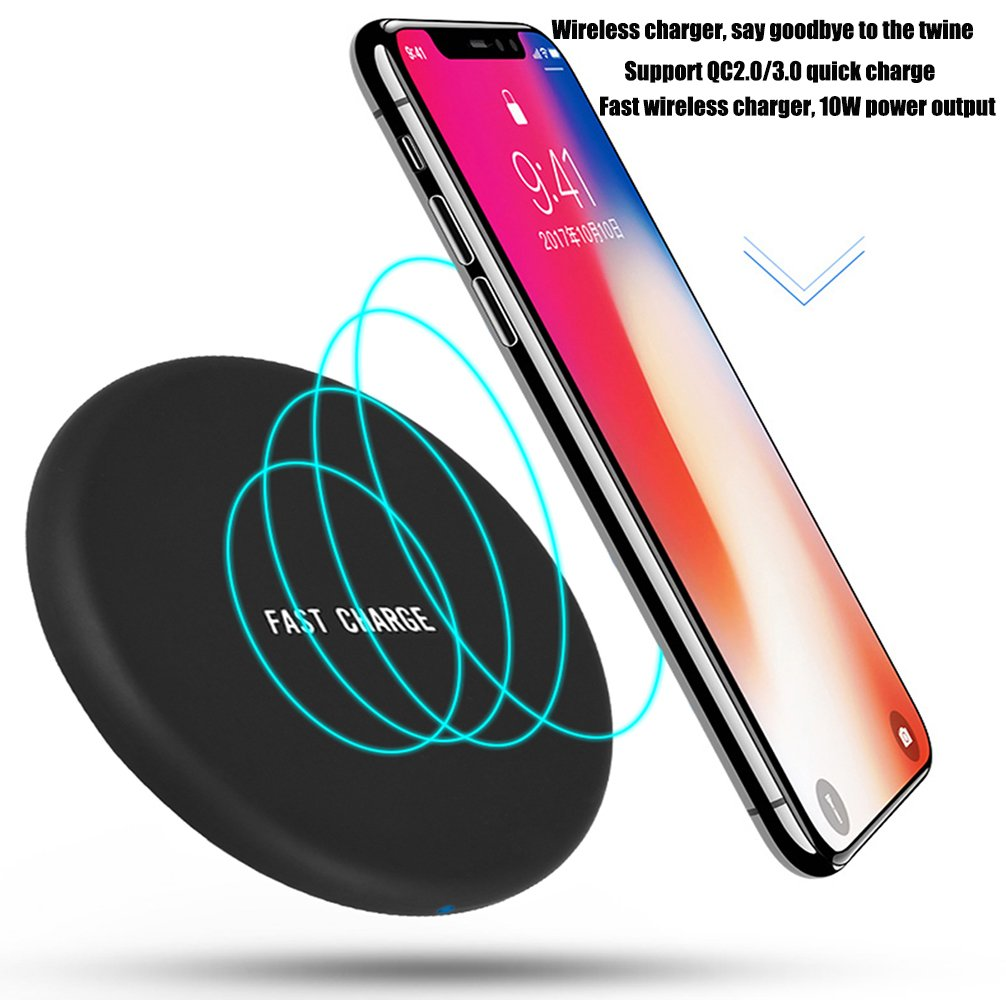 Wireless Charging, JH-LI QI Fast Wireless Charger Ultra Slim Wireless Charger Pad for Samsung Galaxy Note 8,S8, S8+ S8 Plus,S7,S7 Edge,S6 Edge/Edge Plus,Note 5,iPhone X 8 Plus 8,[Sleep-Friendly] Black