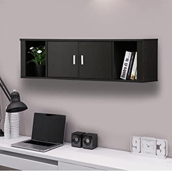 office desk with hutch l shaped furniture computer black wall mounted floating media storage cabinet hanging door compartment home