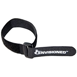"""Reusable Cinch Straps 1"""" x 15"""" - 12 Pack, Multipurpose Quality Hook and Loop Securing Straps (Black) - Plus 2 Free Bonus Reusable Cable Ties"""