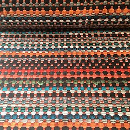 prezzo per 50 cm Half panama 100/% cotone Tessuto arredo stampato al metro Llengos beige H Blu 280 cm