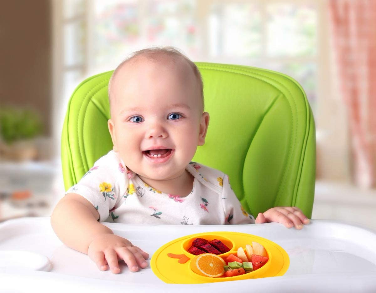 Portable Non Slip Child Feeding Plate with Suction Cup for Children Babies and Kids BPA Free FDA Approved Baby Dinner Plate Microwave Dishwasher Safe Divided Plate Silicone