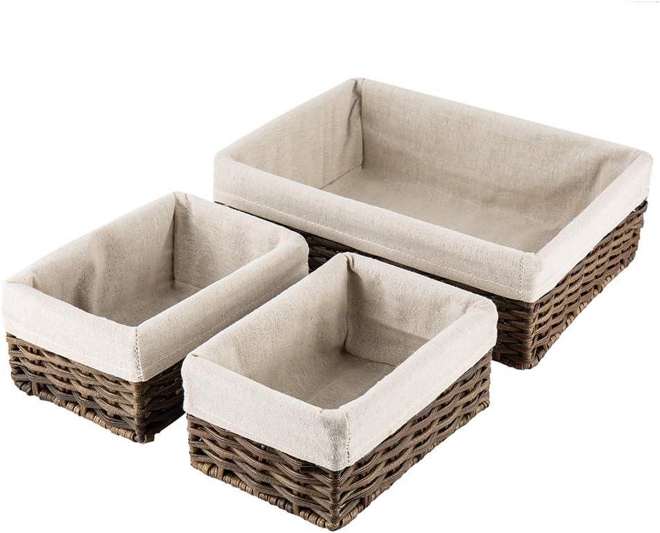HOSROOME Handmade Wicker Storage Baskets Set Shelf Baskets Woven Decorative Home Storage Bins Decorative Baskets Organizing Baskets Nesting Baskets(Set of 3,Brown)