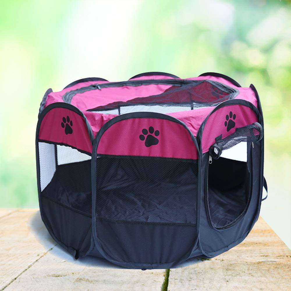 JXJL Pet Play Pen Portable Pieghevole Pieghevole Pieghevole Puppy Dog Pet Cat Coniglio Guinea Pig Box in Tessuto Gabbia Gabbia Tenda (rosa),90x90x60CM fe7015