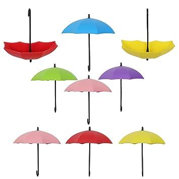 9pcs colgador de llaves MEZOOM forma de paraguas de multicolor de decoración ganchos plástico adhesivo en