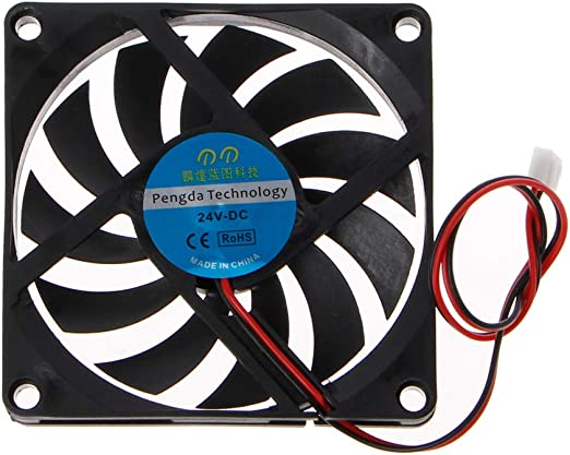 WINJEE, 24V 2-Pin 80x80x10mm Computadora PC Sistema CPU Disipador ...