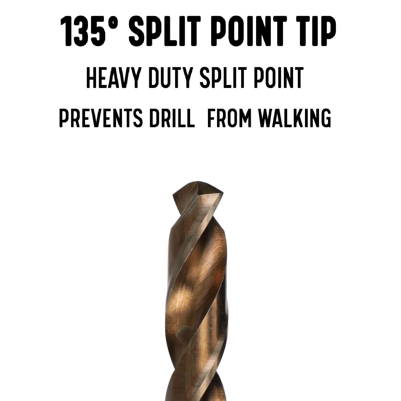 Pack of 12 Drill America 1//4 Cobalt Heavy Duty Split Point Stub Drill Bit D//ASTCO Series