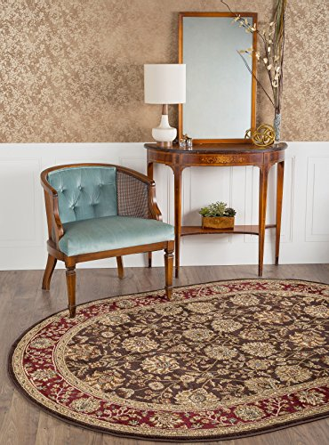 Universal Rugs Marietta Transitional Floral Brown Oval Area Rug 7 X 10