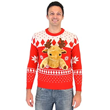 Amazon.com: Red 3D Reindeer Moose Ugly Christmas Sweater: Clothing