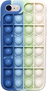 EVERMARKET Push Pop Bubble Fidget Sensory Toys Case for iPhone 7/8, Push Pop Bubble Silicone Case for iPhone 7/iPhone 8, Drop Protection Case 4.7inch (Blue White)