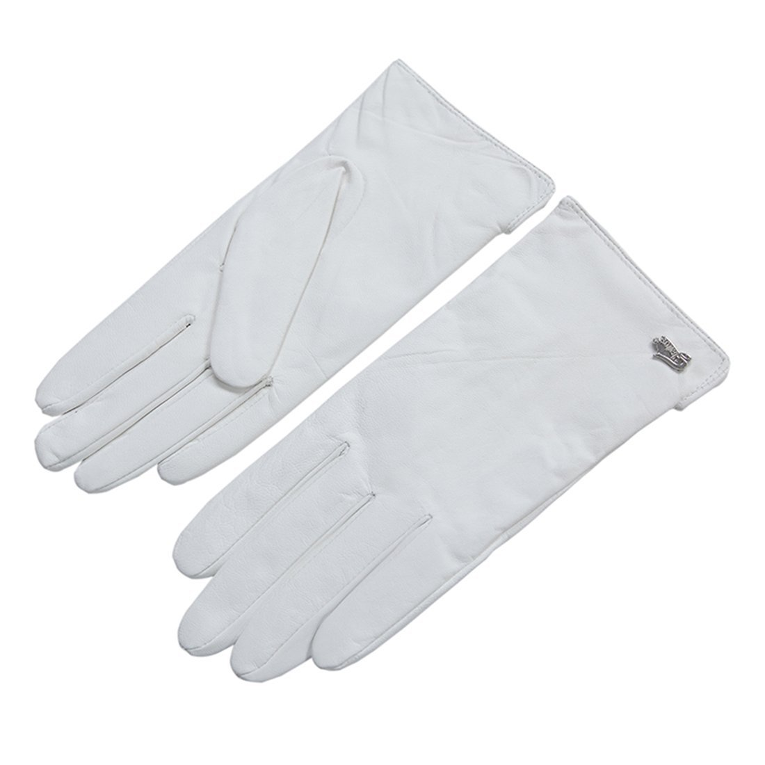 Nappaglo Nappa Leather Gloves Warm Lining Winter Multicolor Imported Leather Lambskin Gloves for Women (L, White)