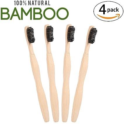 Unionshopping Conjunto de 4 Cepillos bambú con puro de bambú madera ... 55f72fe923ee