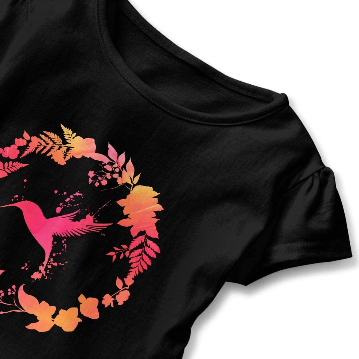 Hummingbird Floral Wreath Toddler Girls T Shirt Kids Cotton Short Sleeve Ruffle Tee