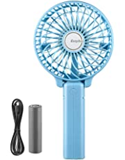 EasyAcc Handheld Electric USB Fans Mini Portable Outdoor Fan with Rechargeable 2600 mAh Battery Foldable Handle Desktop for Home and Travel - Black