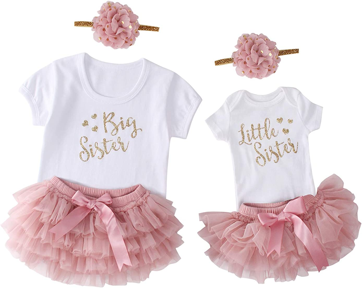 3pcs Newborn Toddler Big Sister Little Sister Matching Outfits Baby Girl Coming Home Outfits