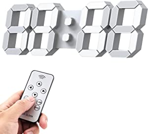 """Upgrade 3D LED Wall Clock 14.5"""" with Remote Control, Alarm Clock for Office Home, Adjustable Brightness, 12/24 Hour Display, Night Light, Temperature, Looping Display"""