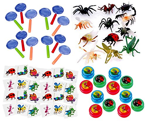 Bug Party Favor Supplies 60 piece Super Fun Bug Bundle with Plastic Insects (12), Bug Yo-Yo's (12), Kid's Magnifying Glass (12), Temporary Insect Tattoos (24) (Bugs 24 Piece)
