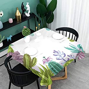 oobon Printed Outdoor Tablecloth, Decorative Succulents Framework Different Types Gardening Theme Seasonal, for Patio Waterproof, BBQ, Kitchen, 50x50 inch