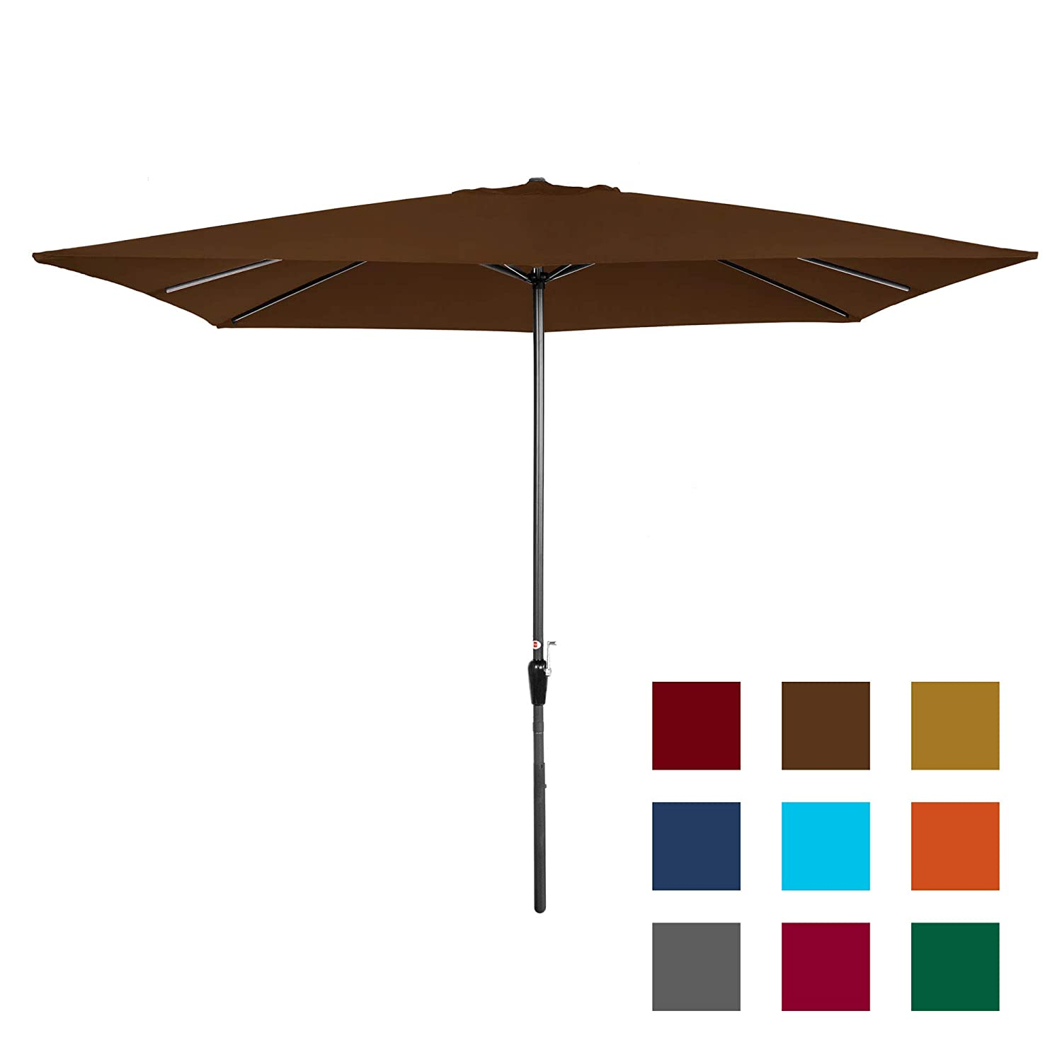 Best Choice Products 8x11ft Rectangular Patio Umbrella w Crank, Fade-Resistant 210G Polyester Fabric – Brown